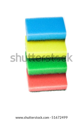 sponges for washing dishes on white - stock photo