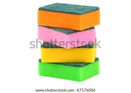 sponges under the white background - stock photo