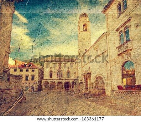 Sponza Palace - histiric archive, Dubrovnik, Croatia - stock photo
