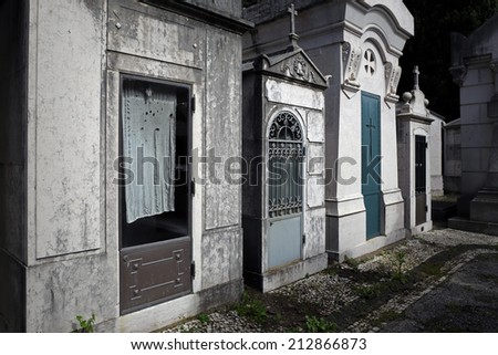 Spooky details of an old cemetery - stock photo