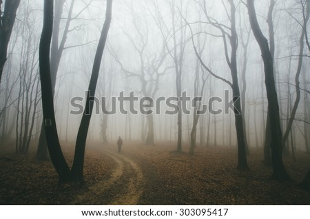 spooky forest road with man and twisted trees - stock photo