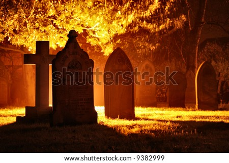 spooky graveyard - stock photo