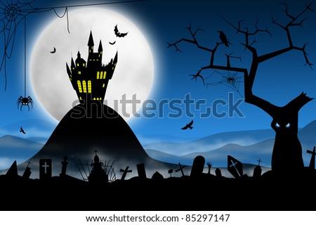 Spooky Halloween night. Foggy cemetery and far haunted castle against moon - stock photo