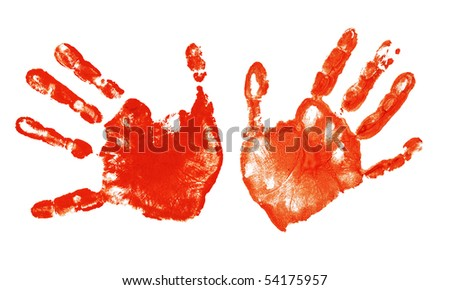 Spooky hands print isolated on white background - stock photo