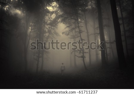 spooky landscape with a man walking through a dark forest - stock photo