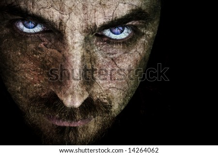 Spooky Scary Face with Evil Eyes - stock photo