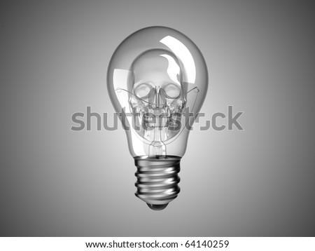 Spooky Skull inside Lightbulb - death and disease. Over grey - stock photo