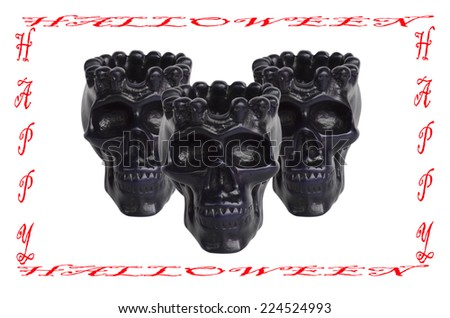 Spooky skulls on white background. Great for halloween. - stock photo