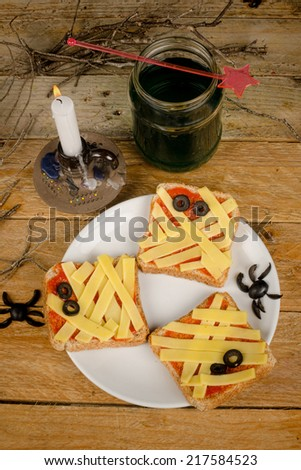 Spooky toasties for a kid Halloween party - stock photo