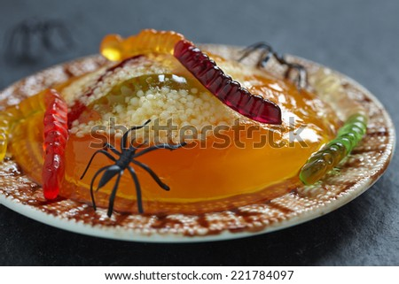 Spooky Worm and Spider Nests with Orange Jello and Tapioca - stock ...