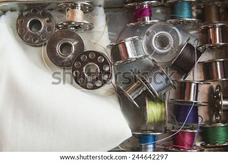 Spools of sewing machine - stock photo