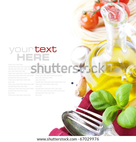 Spoon, fork, napkin and pasta ingredients (Pasta, olive oil, basil, mushrooms, tomato, garlic) with sample text - stock photo
