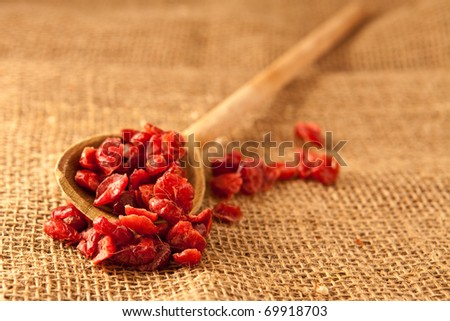 Spoon of dried cranberries - stock photo
