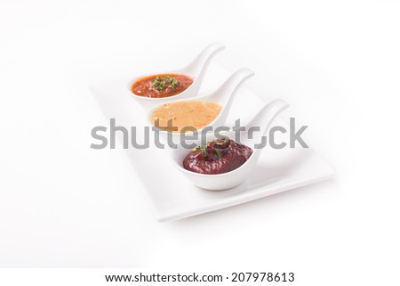 Spoon of Eastern cuisine  several chili sauce with peppers (Nam Prik)  - stock photo