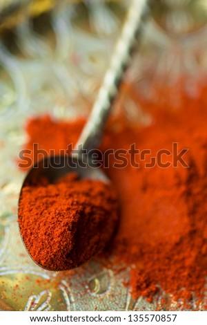Spoon of paprika - stock photo