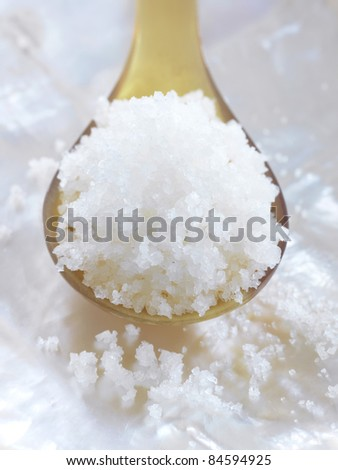 Spoonful of Fleur de sel sea salt from Guérande - stock photo