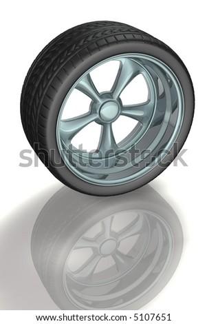 Sport alloy wheel tire 3d concept illustration - stock photo