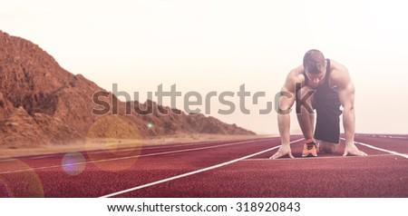 Sport and fitness runner man running on road training for marathon  - stock photo
