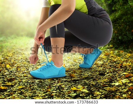 sport and leaves  - stock photo