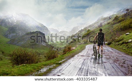Sport and leisure adventure around the world scenery. bike and sport concept. - stock photo