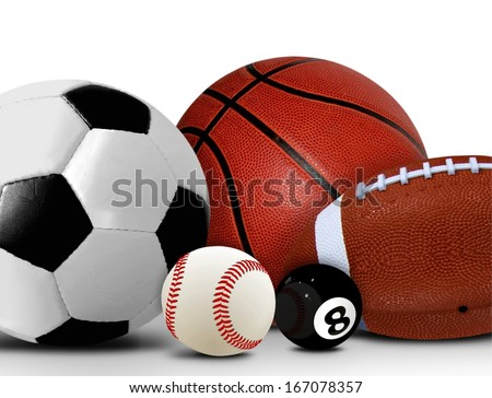 Sport and Leisure Balls over White  - stock photo
