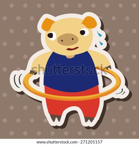 sport animal pig cartoon, cartoon stickers icon - stock photo