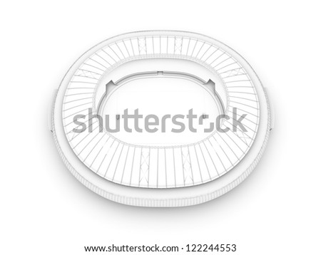 sport arena. 3d illustration in wireframe view - stock photo