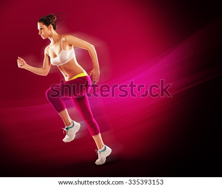 Sport. Athlete runner in silhouettes on red background - stock photo