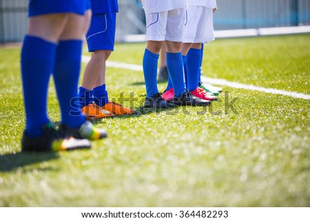 Sport background. Soccer team; Boys With Football Coach - stock photo