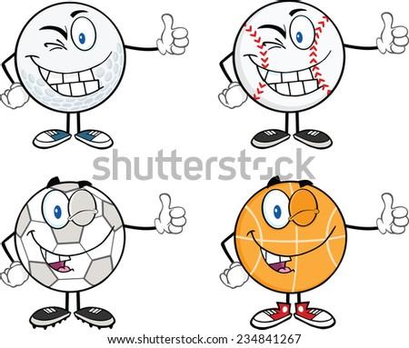 Sport Ball Mascot Cartoon Character Giving A Thumb Up. Raster Collection Set - stock photo