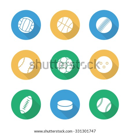 Sport balls flat design icons set. Active lifestyle team play games. Football and soccer long shadow silhouettes symbols. Leisure recreational equipment illustrations. Raster infographic elements - stock photo