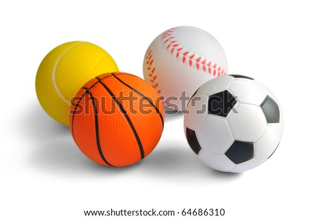 Sport balls isolated on a white background. - stock photo