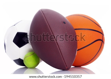 Sport balls isolated on white background - stock photo