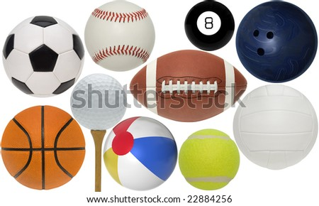 Sport balls isolated with clippint paths on white background - stock photo