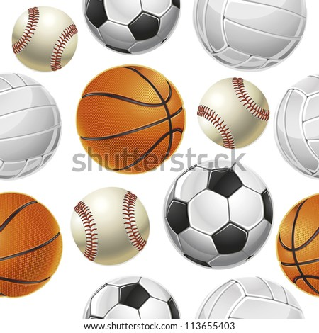 Sport Balls Set Seamless pattern (jpg). Vector version also available - stock photo