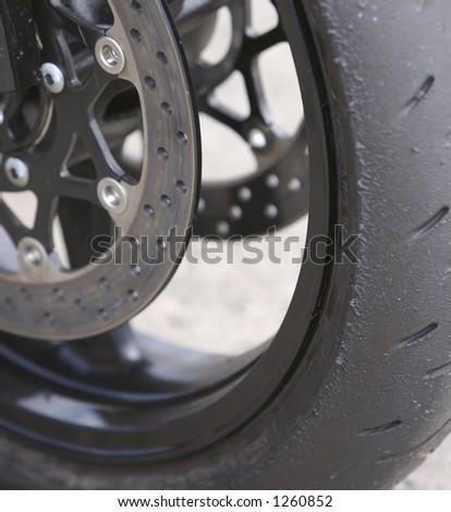 Sport Bike Wheel and Brake Detail - stock photo