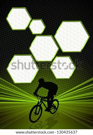 Sport business poster: bike and man background with space - stock photo