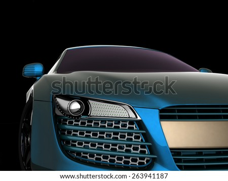 Sport Car. 3d model on black background. - stock photo
