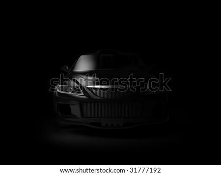 Sport car in dark - stock photo