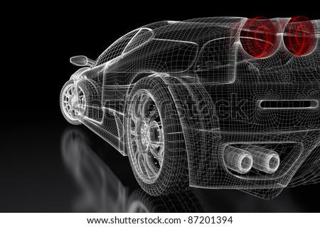 Sport car model on a black background. 3d rendered image - stock photo