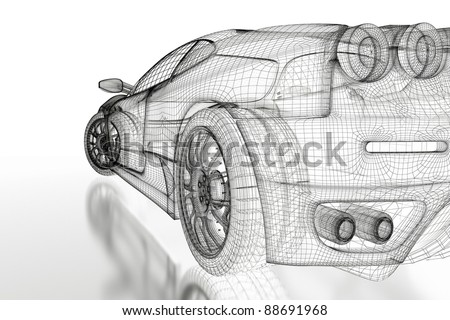Sport car model on a white background. 3d rendered image - stock photo
