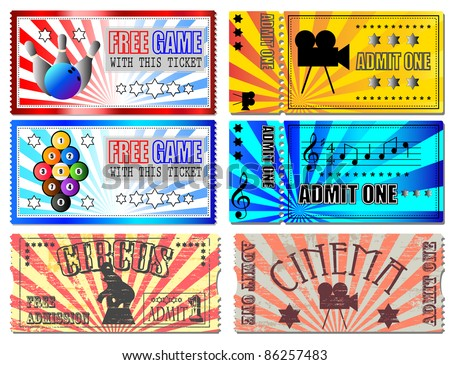 Sport, Cinema, Concert and Circus tickets - stock photo