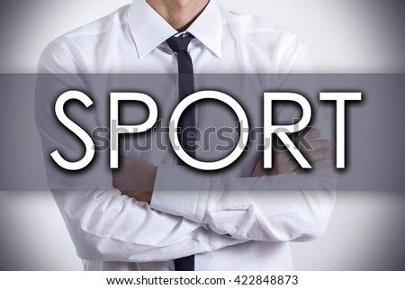 SPORT - Closeup of a young businessman with text - business concept - horizontal image - stock photo