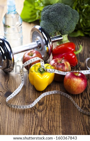 Sport diet, Calorie, measure tape - stock photo