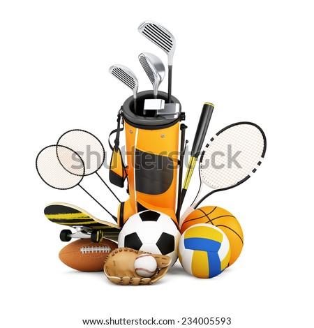 Sport equipment on white background - stock photo