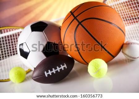 Sport Equipment, Soccer,Tennis,Basketball - stock photo