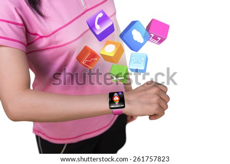 Sport female wearing touchscreen smartwatch with colorful app icons isolated on white background - stock photo