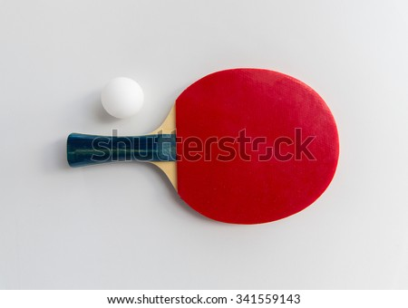 sport, fitness, healthy lifestyle and objects concept - close up of ping-pong or table tennis rackets with ball - stock photo