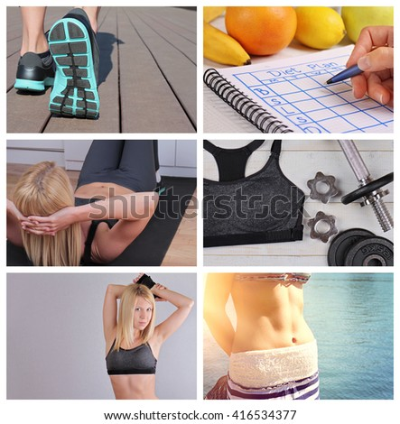 Sport, Fitness, Jogging  Motivation Inspiration ,Healthy lifestyle Collage. Weight loss results, nutrition and workout plan - stock photo