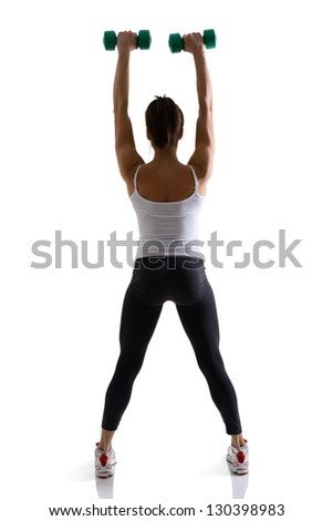sport girl doing with dumbbells, fitness woman studio shot in silhouette technique over white background - stock photo